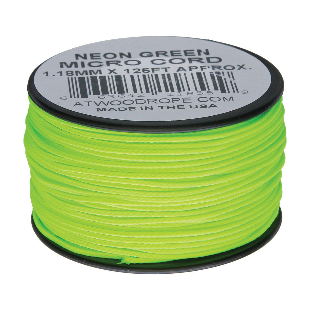 Плетено влакно Atwood Rope Micro Cord 125 ft Neon Green